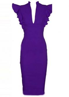 Formal V Neck Knee Length Work Dress Purple