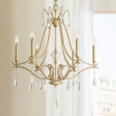 """MINKA LAVERY Laurel Estate 26 3/4"""" Wide Brio Gold 6-Light Chandelier $235 + AN EXTRA 15% OFF AT CHECKOUT - USE PROMO CODE: HELLOFALL19 FREE SHIPPING OR PICK UP - WEBSITE: GlowOnSunset.Net"""