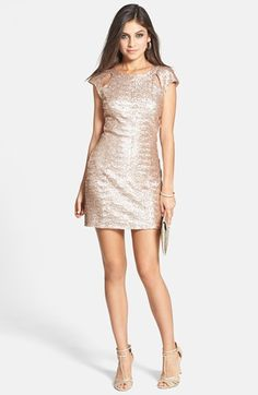 Rose gold sequin bachelorette party dress