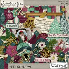 Digital Scrapbook Kit, Feeling Festive by Connie Prince: SCRAPBOOK-BYTES