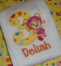 umizoomi birthday | Girls Mili Team Umizoomi birthday shirt with matching hair bow....idea for the little one's birthday this year.....hmmmmm