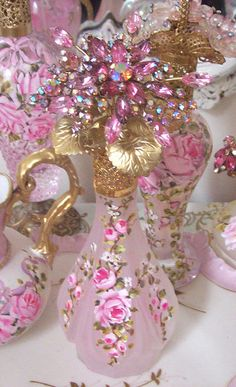 Gorgeous Pink Frosted Glass Perfume Bottle cluster