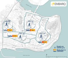 Perception of safety around local businesses has increased across the peninsula. Graphic from EMBARQ Turkey. Urban Design Diagram, Urban Design Plan, Urban Analysis, Site Analysis, Urban Mapping, Traffic Analysis, Sustainability Projects, Walkable City, City Branding
