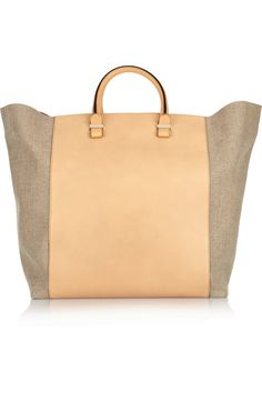 #Victoria #Beckham shopper leather and linen-canvas tote 2013