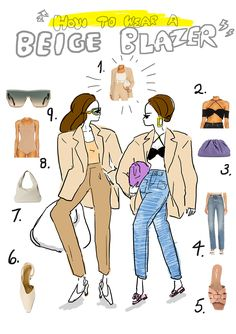 illustration by Akiko Hiramatsu Beige Blazer, Spring Outfits, Elegant, Illustration, How To Wear, Fashion, Beige Blazer Mens, Classy, Moda