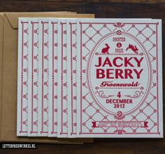 Jacky Berry #BirthAnnouncement #Vintage #letterpress #geboortekaart