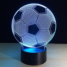 Football Balloon Model Crafts 7 Colors Changing Atmosphere Gradient Visual Perspective Nightlight Illusion Lamp Festival Lantern