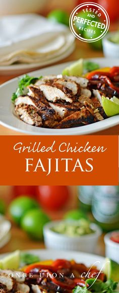 Grilled Chicken Fajitas - Fajitas are easy and you can do all of the prep ahead of time so all thats left to do at dinnertime is grill the chicken. Plus theyre fun perfect for getting the whole family sharing everything at the table or a casual dinn Grilled Chicken Fajitas, Grilled Chicken Recipes, Chicken Fajita Recipe, Mexican Grilled Chicken, Chicken Salads, Chapati, Grilling Recipes, Cooking Recipes, Healthy Recipes