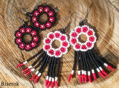 in Russian needs to be translated Seed Bead Earrings, Beaded Earrings, Crochet Earrings, Seed Beads, Beading Tutorials, Beading Patterns, Earring Tutorial, Beaded Ornaments, Bead Jewellery