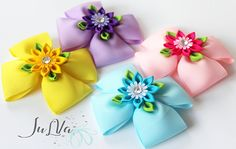 Fast And Easy Projects - How to Make Hair Clips? Toddler Hair Clips, Baby Hair Clips, Handmade Hair Bows, Diy Hair Bows, Diy Ribbon, Ribbon Crafts, Fancy Bows, Kanzashi Flowers, Boutique Hair Bows