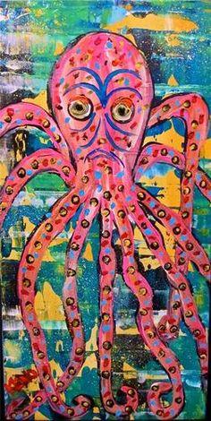 Octopus Fish Painting Maine Folk Art Outsider Coastwalker | eBay