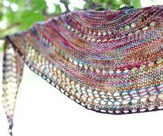Wanderlust Crescent Shawl  Merino Hand Knitted/ Limited Edition Triangle Shawl