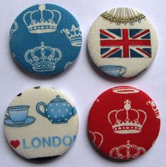 A lovely four-piece set of Diamond Jubilee Fridge Magnets. #magnets #UK #British #Britain #jubilee