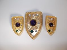 Vintage Park Lane Shield Brooch And Earrings Set with Cabochons and Rhinestones #ParkLane