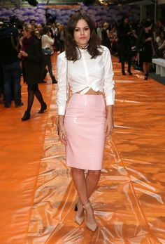 White button blouse with PVC skirt...love love love this skirt!!!!