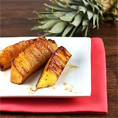 Grilled Pineapple is simple and a satisfying treat. If you've got a good ripe one, adding sugars or dressings isn't necessary!