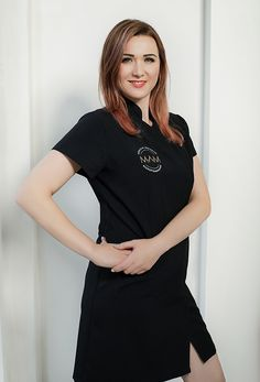 dress, black dress, dress for spa and clinic, uniform, fashion to work Dress Black, Clinic, Spa, V Neck, T Shirts For Women, Model, Dresses, Fashion, Vestidos
