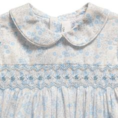 Girls Blue Cotton Floral Hand-Smocked Dress - Smocked - Dresses - Girl   Childrensalon