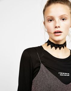 Wide lace choker necklace. Discover this and many more items in Bershka with new products every week