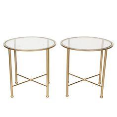 Vintage Maison Jansen-Style Round Side Tables, Pair