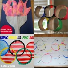 Olympics rings crafts - I like the one where they print colored rings onto paper. by dipping paper rolls into paint  Add an explanation of why ring colors were chosen.