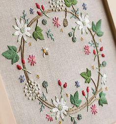 월든공방클래스 | 프랑스자수 Hand Work Embroidery, Embroidery Flowers Pattern, Japanese Embroidery, Hand Embroidery Stitches, Embroidery Hoop Art, Hand Embroidery Designs, Ribbon Embroidery, Floral Embroidery, Cross Stitch Embroidery