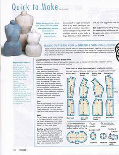 Threads 91 Dress Form pincushion pattern