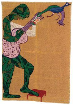Hombre con Guitarra.  1960  134 x 89 cm.   Yute bordado con lanigrafía.  Fundación Violeta Parra