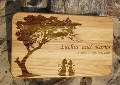 Anniversary gift for her custom cutting board by Vyroby on Etsy