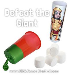 "Make paper cup slingshots to shoot marshmallows or crushed paper balls at ""Goliath"". Use this Sunday school game to introduce the story of David and Goliath. Bible School Crafts, Bible Crafts For Kids, Preschool Bible, Bible Activities, Bible Story Crafts, Bible Games, Bible School Games, Kids Bible, Group Activities"