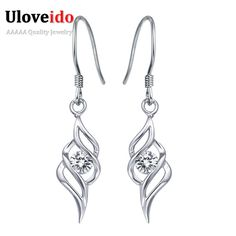 Find More Drop Earrings Information about Women Silver 925 Long Earrings With Stones Earings Fashion Jewelry Crystal Earring Dangle Earrings 2016 Designer Uloveido R113,High Quality earring post,China earrings zircon Suppliers, Cheap earrings traditional from Uloveido Official Store on Aliexpress.com