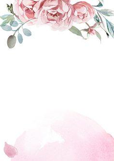 Pink Floral Background, Flower Background Wallpaper, Flower Phone Wallpaper, Floral Border, Flower Backgrounds, Flower Background Design, Watercolor Flower Background, Watercolor Leaves, Watercolor Rose