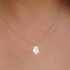 Gold Hamsa Necklace Filligree Hamsa Charm Necklace