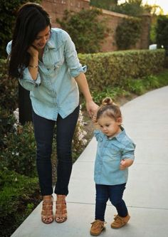 Cute denim matching outfits for mother and daughter ...