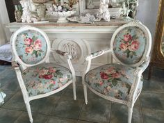 chic carved chairs cabbage roses at myparisfleamarket.com
