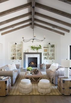 Beneath A Vaulted Ceiling Fitted With Rustic Ceiling Beams, A Wrought Iron  6 Light · Wohnzimmer IdeenKleine ...