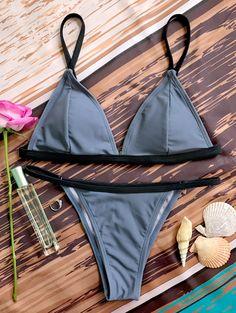 $13.49 Padded Plunge V String Bikini - Gray