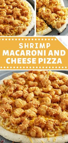 Easy & Delicious Cheesy Macaroni and Cheese on a Pizza Crust and Topped with Popcorn Shrimp! Macaroni And Cheese Pizza, Pizza Cheese, Seafood Recipes, Appetizer Recipes, Dinner Recipes, Pizza Recipes, Football Party Foods, Popcorn Shrimp, Potato Bites
