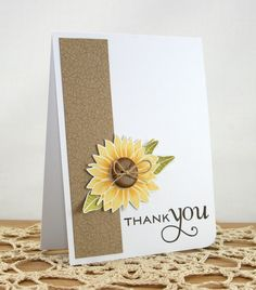 Kloset Kreations: retrosketches #14.  Great thank you card.  Love the bits of leaves behind the sunflower.