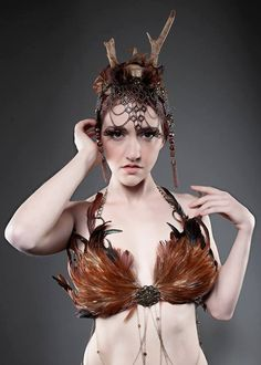 Gaea Headdress Antler Headband Ceremony Costume by TheOddCog, $189.00