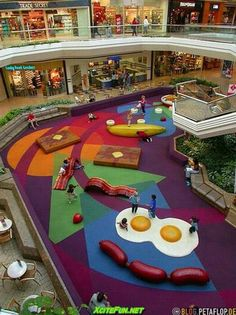 Food playground tagged onto the food court of a shopping mall so kids can play while parents sit down and have a cup of coffee. Description from pinterest.com. I searched for this on bing.com/images