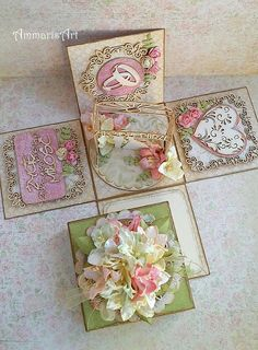FILIGRANKI Fun Fold Cards, 3d Cards, Scrapbook Box, Scrapbooking, Box Invitations, Wonderful Day, Exploding Box Card, Stationery Paper, Paper Crafts