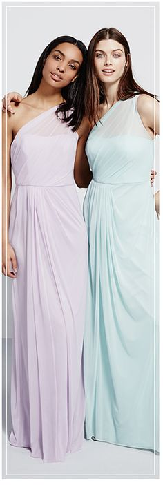 Pastel bridesmaid dresses are a fresh take on the mix and match trend. Same style, different colors in the same hue. #DavidsBridal #DBmaids