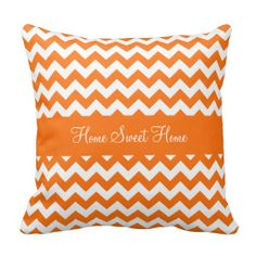 Pumpkin Orange Chevron Pillows ................ This design features a pumpkin orange chevron pattern. Add some color to any room with this pillow.