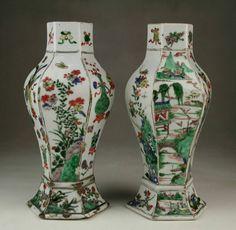 Rare Pair Antique Chinese Qing Kangxi Wucai Famille Verte ...