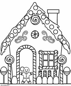 gingerbread house coloring pages  patterns/printables/templates  pinterest  coloring pages