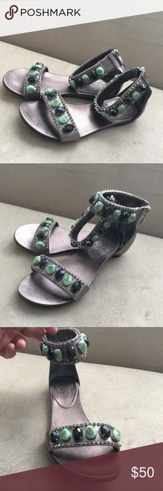 Vince Camuto Georgues Leather Sandal, 5.5 Used but perfect condition, highly Elegant Leather flat Sandals, man made material, zipper in back and black and green stone in front. And small diamond around. Gray color, size 5.5 Vince Camuto Shoes Sandals