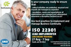 ISO 22301 Training and Certification. Live Online Training. Register online today.