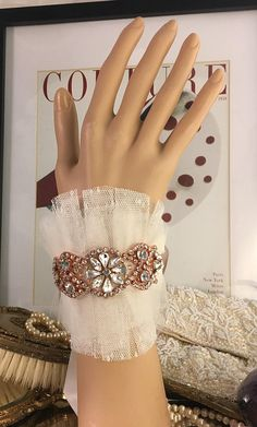 Bridal Cuff Bracelet Rose Gold Wedding Bracelet Crystal Rhinestone Bridal Cuff Silver Beaded Cuff Wedding Jewelry Tulle Cuff Color Choices