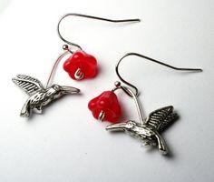 Hummingbird Earrings Red Flower Earrings Trumpet by Exgalabur, $9.00